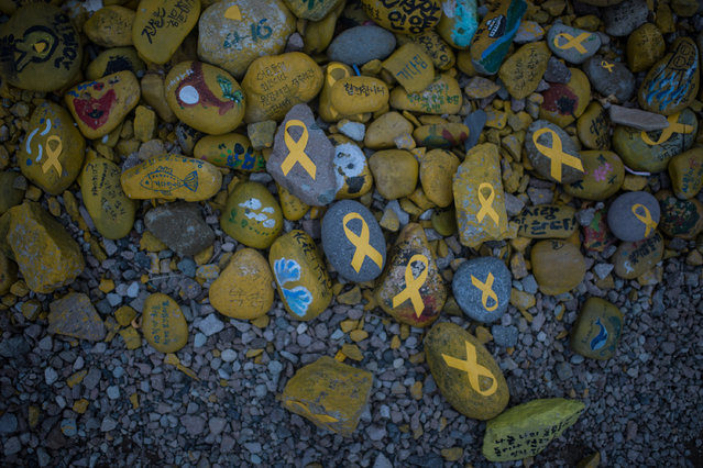 Stones emblazoned with yellow ribbons are displayed near the makeshift homes of relatives of Sewol ferry victims, at Paengmok harbour on South Korea's southern island of Jindo on March 24, 2017. South Koreas sunken Sewol ferry emerged from the waters March 23, nearly three years after it went down with the loss of more than 300 lives and dealt a crushing blow to now-ousted president Park Geun-Hye. (Photo by Ed Jones/AFP Photo)