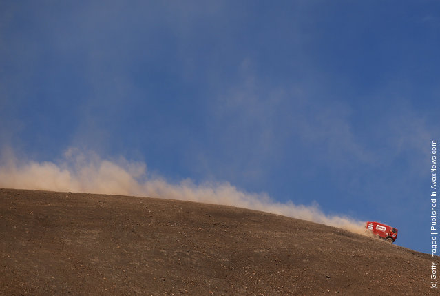 Jos Smink of The Netherlands in action in his truck during stage eight of the 2012 Dakar Rally