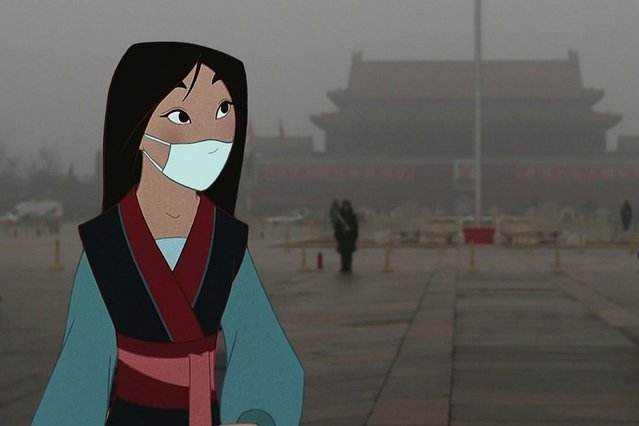 Mulan takes precautions to avoid pollution in China. (Photo by Jeff Hong)