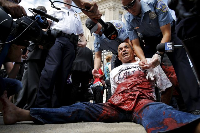 Policemen detain protester Danilo Maldonado after he splattered red paint from a pouch hidden in his clothing, outside the flag-raising ceremony at the Cuban Embassy in Washington July 20, 2015. The Cuban flag was raised over Havana's embassy in Washington on Monday for the first time in 54 years as the United States and Cuba formally restored relations, opening a new chapter of engagement between the former Cold War foes. (Photo by Jonathan Ernst/Reuters)