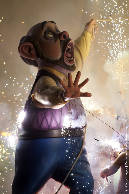 A combustible 'Ninot' caricatures burn during the last day of the 'Fallas' festival on March 19, 2012 in Valencia, Spain