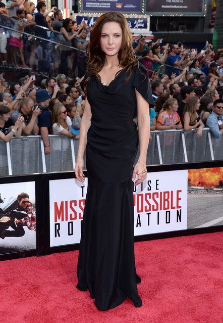 """Rebecca Ferguson attends the premiere of """"Mission: Impossible – Rogue Nation"""" in Times Square on Monday, July 27, 2015, in New York. (Photo by Evan Agostini/Invision/AP Photo)"""