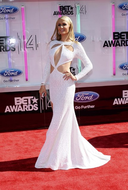 Paris Hilton arrives at the 2014 BET Awards in Los Angeles, California June 29, 2014. (Photo by Kevork Djansezian/Reuters)