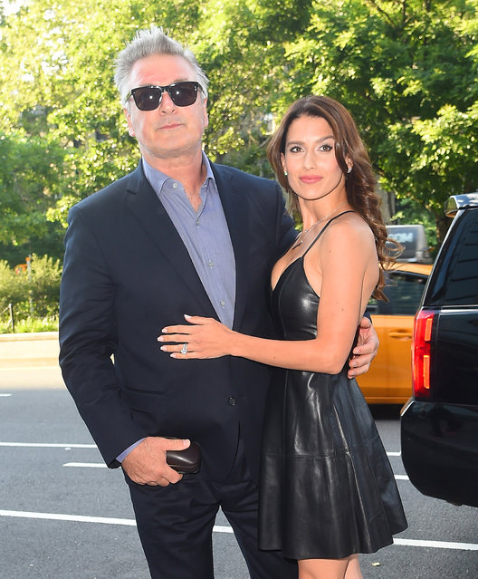 "Alec and Hilaria Baldwin arrive at the ""Blind"" movie screening in New York on June 26, 2017. (Photo by NPEx/Splash News and Pictures)"