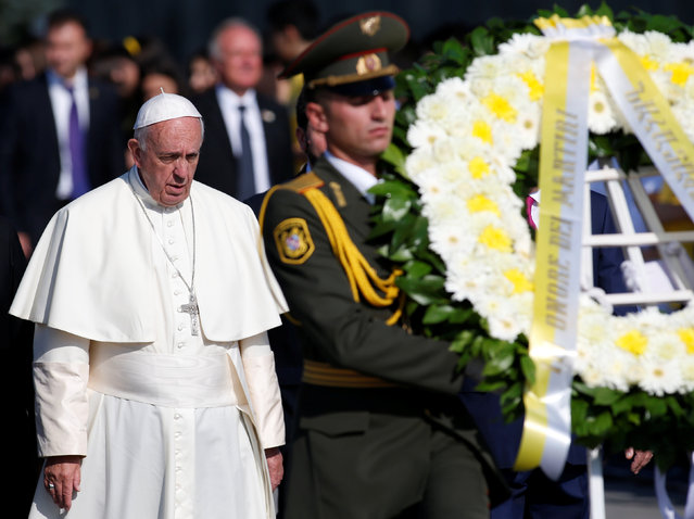 Pope Francis attends a commemoration ceremony for Armenians killed by Ottoman Turks at the Tsitsernakaberd Memorial Complex in Yerevan, Armenia, June 25, 2016. (Photo by David Mdzinarishvili/Reuters)