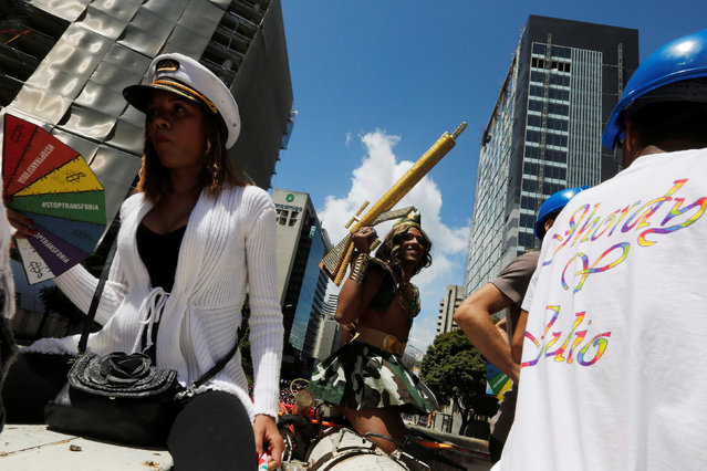 Revellers take part in the gay pride parade in Caracas, Venezuela July 3, 2016. REUTERS/Carlos Jasso
