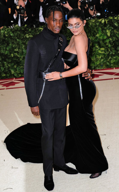 Kylie Jenner and Travis Scott attends Heavenly Bodies: Fashion & The Catholic Imagination Costume Institute Gala at Metropolitan Museum of Art on May 7, 2018 in New York City. (Photo by Jackson Lee/Getty Images)