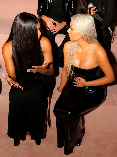 Ciara and Kim Kardashian attend the Tom Ford Spring/Summer 2018 collection presentation at New York Fashion Week in Manhattan, New York, U.S., September 6, 2017. (Photo by Andrew Kelly/Reuters)