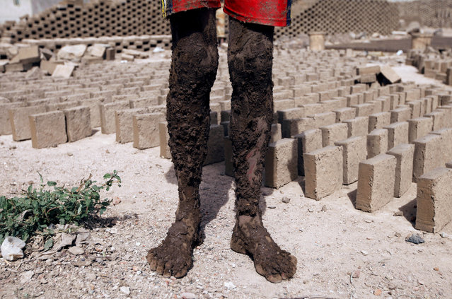 A labourer stands with his legs covered with mud at a brick factory on the outskirt of Sanaa, Yemen, May 29, 2016. (Photo by Mohamed al-Sayaghi/Reuters)