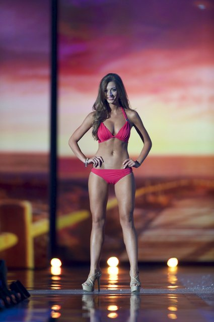 Miss Wyoming, Mikaela Shaw competes in the swimsuit competition during the first night of preliminaries of Miss America at Boardwalk Hall in Atlantic City, New Jersey, September 8, 2015. (Photo by Mark Makela/Reuters)