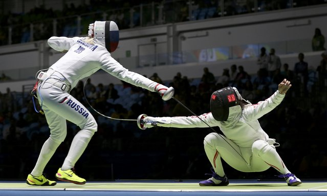 2016 Rio Olympics, Fencing, Preliminary, Women's Epee Individual Table of 32, Carioca Arena 3, Rio de Janeiro, Brazil on August 6, 2016. Tatiana Logunova (RUS) of Russia competes with Nozomi Sato (JPN) of Japan. (Photo by Issei Kato/Reuters)