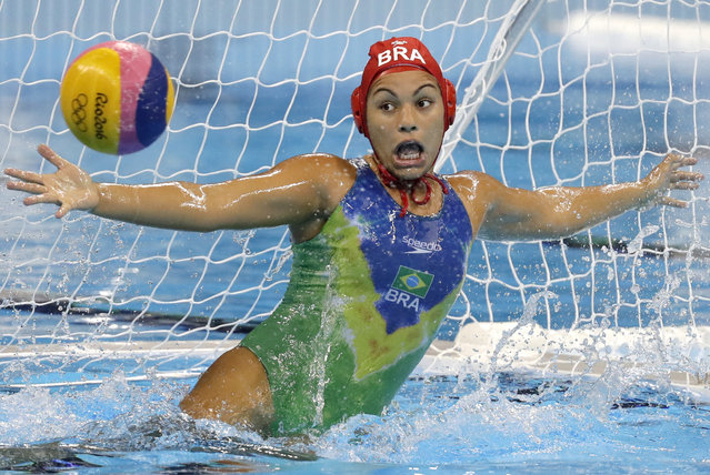 Brazil's Victoria Chamorro failed to stop the ball during their women's classification 7th-8th place water polo match against China at the 2016 Summer Olympics in Rio de Janeiro, Brazil, Friday, August 19, 2016. (Photo by Sergei Grits/AP Photo)