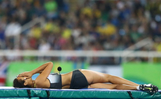 2016 Rio Olympics, Athletics, Final, Women's High Jump Final, Olympic Stadium, Rio de Janeiro, Brazil on August 21, 2016. Marie-Laurence Jungfleisch (GER) of Germany reacts. (Photo by Ivan Alvarado/Reuters)