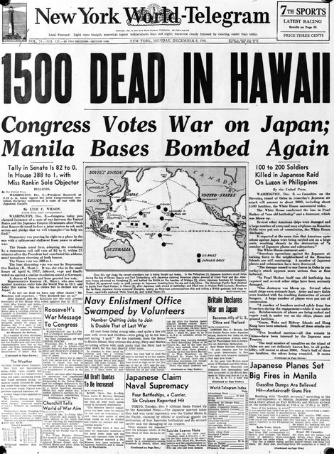 8th December 1941:  The front page of the 'New York World Telegram', with the headline, '1500 dead in Hawaii', referring to the Japanese air attack at Pearl Harbour (Pearl Harbor) on the Hawaiian island of Oahu.  (Photo by Express/Express/Getty Images)