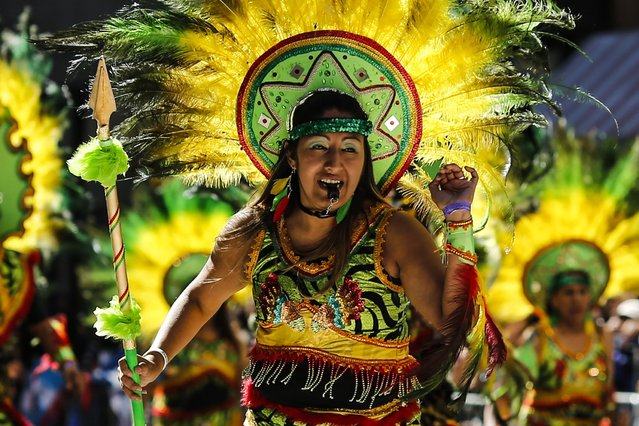 Revellers take part in the annual Hispanic Day Parade in New York, October 12, 2014. (Photo by Eduardo Munoz/Reuters)
