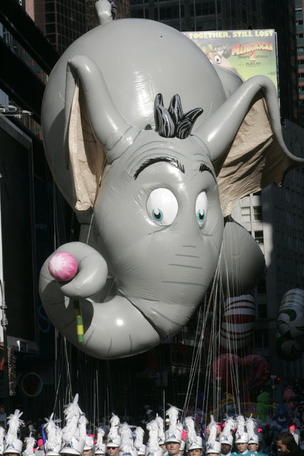 The Horton float moves through Times Square during the Macy's Thanksgiving Day Parade Thursday, November 27, 2008, in New York. (Photo by Frank Franklin II/AP Photo)