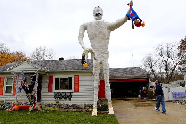 Richard Underly looks up at his giant mummy in Portage, Mich., on October 30, 2014. The 23-foot mummy is almost twice the size of last year's Halloween decoration. (Photo by Mark Bugnaski/Kalamazoo Gazette)