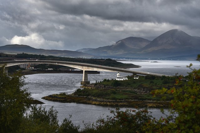 A view of the Skye bridge from the Plock viewpoint looking towards Beinn Dearg Bhead and Beinn Na Caillich on August 19, 2017 in the Kyle of Lochalsh, Scotland. The Isle of Skye is known as one of the most beautiful places in Scotland, however its infrastructure services are being stretched to the limit by the number of visitors heading there to enjoy its rugged scenic beauty.  (Photo by Jeff J. Mitchell/Getty Images)