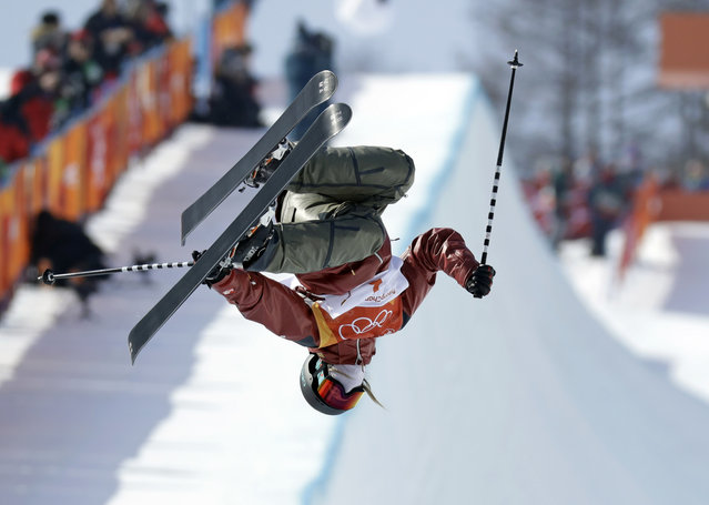 Cassie Sharpe, of Canada, jumps during the women's halfpipe final at Phoenix Snow Park at the 2018 Winter Olympics in Pyeongchang, South Korea, Tuesday, February 20, 2018. (Photo by Kin Cheung/AP Photo)