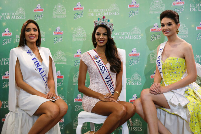 Miss Venezuela 2016 Keysi Sayago (C), the first runner-up Diana Croce (R), and the second runner-up Antonella Massaro attend a news conference in Caracas, Venezuela October 6, 2016. (Photo by Marco Bello/Reuters)