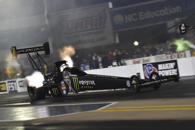 In this photo provided by the NHRA, Brittany Force drives in Top Fuel qualifying for the NHRA Four-Wide Nationals drag races at zMAX Dragway on Friday, April 27, 2018, in Concord, N.C. (Photo by Teresa Long/NHRA via AP Photo)