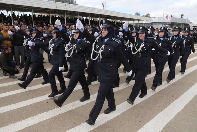 Iraq policewomen march during a ceremony marking Police Day at the police academy in Baghdad, Iraq, Thursday, January 8, 2015. (Photo by Karim Kadim/AP Photo)