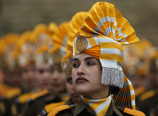 Indian police women take part in a full dress rehearsal for the Republic Day parade in Srinagar January 24, 2015. India will celebrate its annual Republic Day on Monday. (Photo by Danish Ismail/Reuters)