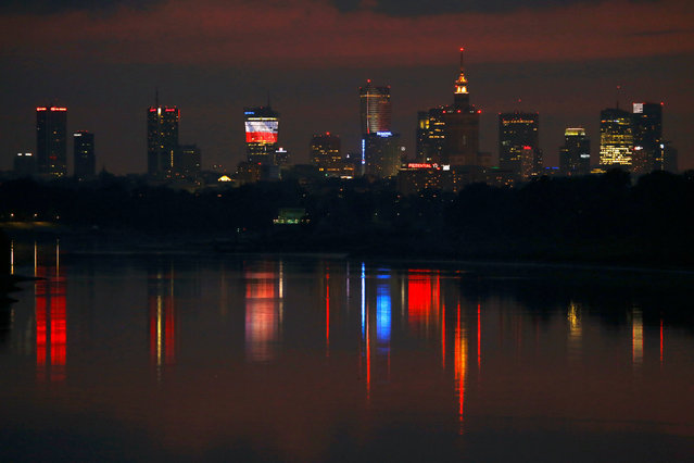 Skyline of Warsaw skyscrapers is pictured after sunset in Warsaw, Poland June 21, 2016. (Photo by Kacper Pempel/Reuters)