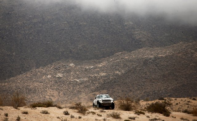 Mikko Hirvonen of Finland drives his Mini during the 10th stage of the Dakar Rally 2016 near Fiambala, Argentina, January 13, 2016. (Photo by Marcos Brindicci/Reuters)