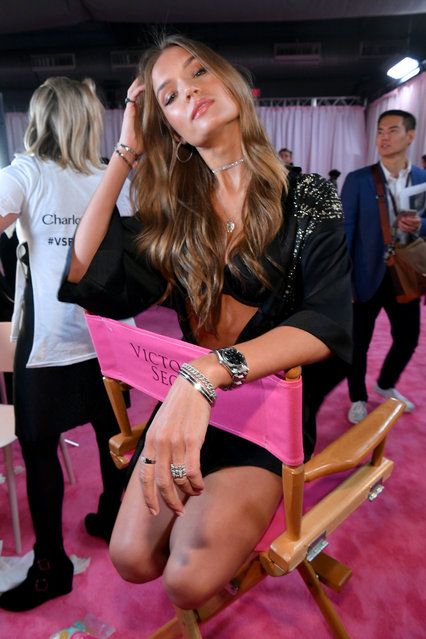 Josephine Skriver prepares backstage during the 2018 Victoria's Secret Fashion Show in New York at Pier 94 on November 8, 2018 in New York City. (Photo by Dia Dipasupil/Getty Images for Victoria's Secret)