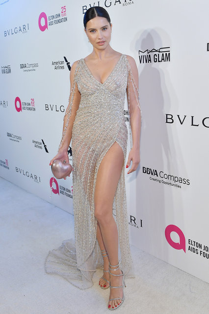 Adriana Lima attends the 26th annual Elton John AIDS Foundation Academy Awards Viewing Party sponsored by Bulgari, celebrating EJAF and the 90th Academy Awards at The City of West Hollywood Park on March 4, 2018 in West Hollywood, California. (Photo by Stefanie Keenan/Getty Images for Bulgari)