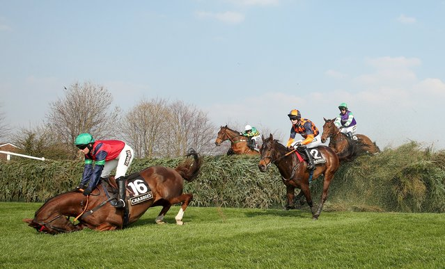 Horse Racing – Crabbie's Grand National Festival – Aintree Racecourse April 9, 2015: Catherine Walton on Ockey De Neulliac fall at Valentine's fence during the 16:05 Crabbie's Fox Hunters' Chase. (Photo by Matthew Childs/Reuters)