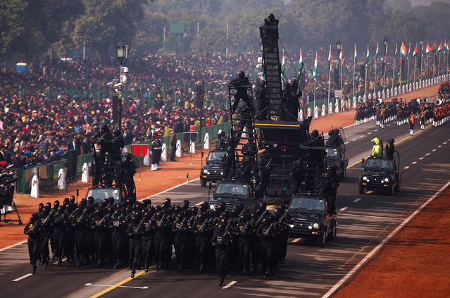 Indian soldiers march during a full dress rehearsal for the Republic Day parade in New Delhi, India, January 23, 2017. (Photo by Adnan Abidi/Reuters)