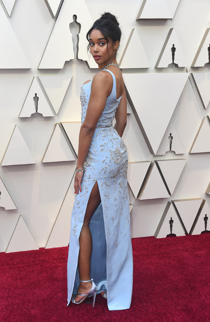 Laura Harrier arrives at the Oscars on Sunday, February 24, 2019, at the Dolby Theatre in Los Angeles. (Photo by Jordan Strauss/Invision/AP Photo)