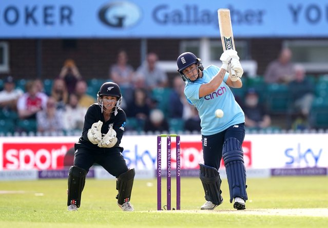 England's Katherine Brunt bats during the third ODI at Uptonsteel County Ground, Leicester on Tuesday, September 21, 2021. (Photo by Mike Egerton/PA Images via Getty Images)