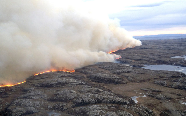 In this photo taken from a helicopter, a major fire burns across open land Wednesday January 29, 2014, in the county of Soer-Troendelag on the north western coast of Norway. This is the third major fire to hit Norway over the last few days, with people in the area being evacuated as a precautionary measure. (Photo by AP Photo/Helitrans via NTB scanpix)
