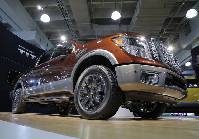 The Nissan 2017 Titan Crew Cab is seen during the media preview of the 2016 New York International Auto Show in Manhattan, New York on March 24, 2016. (Photo by Brendan McDermid/Reuters)