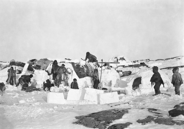 """The whole sea and land as far as the eye can see lends itself to inspire ghostly imaginations, nothing but snow & the sea in an unbroken expanse of ice and snow. In the sunshine it is beautiful, but at night it looks uncanny, the northern light shifting and changing all the time"". Here: Inuit igloos, Fullerton Harbour, Nunavut, c.October 1903. (Photo by Geraldine Moodie/The Guardian)"
