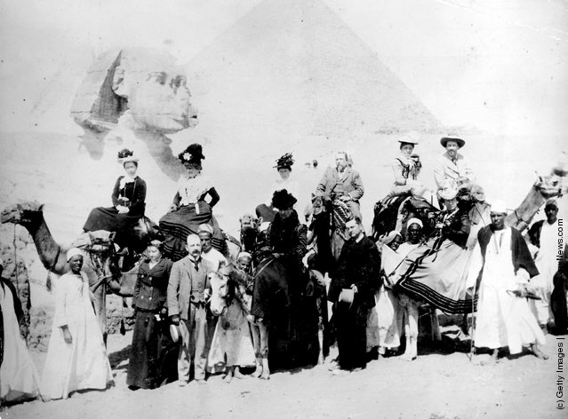 Tourists in front of the Sphinx in Giza, Egypt, 1880