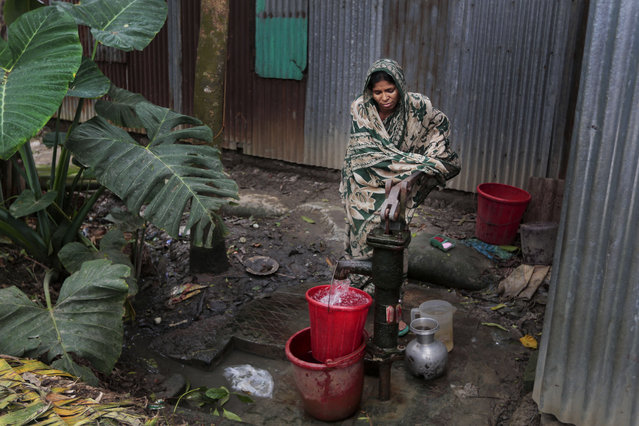 In this April 5, 2016 photo, a Bangladeshi woman collects arsenic-tainted water from a tube-well in Khirdasdi village, outskirts of Dhaka, Bangladesh. A new report estimates that some 20 million Bangladeshis are still being poisoned by arsenic-tainted groundwater drawn from government wells. Arsenic is a naturally occurring and toxic element found in the soil and groundwater of some areas of the world, including vast delta regions like in eastern India and Bangladesh, where rivers empty into the Bay of Bengal. (Photo by A.M. Ahad/AP Photo)