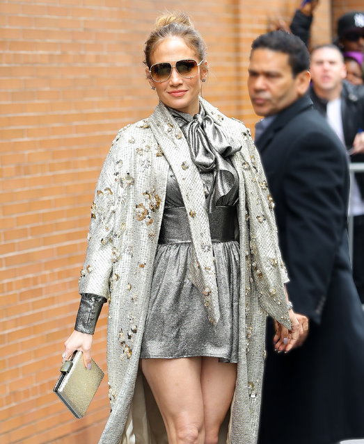 Jennifer Lopez stunned in a metallic Ensemble while posing outside the View in New York City on March 1, 2017. (Photo by Felipe Ramales/Splash News and Pictures)