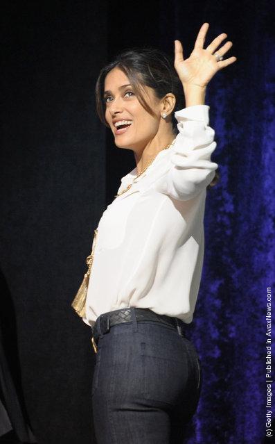 Salma Hayek attend premiere of Puss In Boots