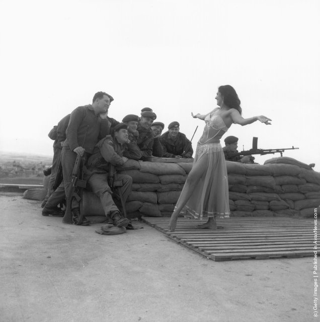 1964: A belly dancer from Middlesex entertains British troops in Cyprus