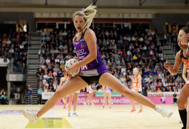 Gretel Tippett of the Firebirds in action during the round 11 Super Netball match between the Giants and Firebirds at AIS on August 04, 2019 in Canberra, Australia. (Photo by Tracey Nearmy/Getty Images)
