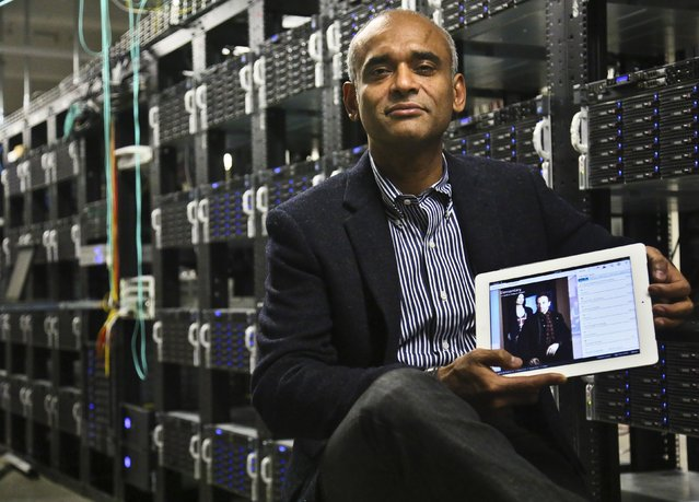 In this Thursday, December 20, 2012, photo, Chet Kanojia, founder and CEO of Aereo, Inc., shows a tablet displaying his company's technology, in New York. Aereo is one of several startups created to deliver traditional media over the Internet without licensing agreements. Past efforts have typically been rejected by courts as copyright violations. In Aereo's case, the judge accepted the company's legal reasoning, but with reluctance. (Photo by Bebeto Matthews/AP Photo)