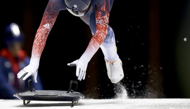 Britain's Kristian Bromley starts his training run prior to the 2014 Winter Olympics, Wednesday, February 5, 2014, in Krasnaya Polyana, Russia. (Photo by Natacha Pisarenko/AP Photo)