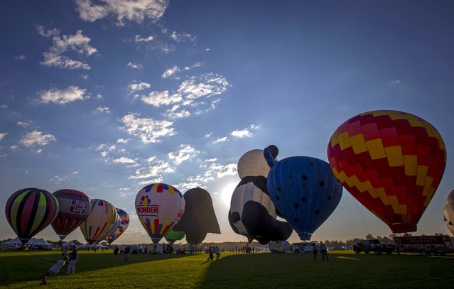 Hot air balloons are inflated at sunrise on day one of the 2015 New Jersey Festival of Ballooning in Readington, New Jersey, July 24, 2015. More than 100 hot air balloons are taking part in the three-day festival, one of the largest of it's kind in North America, according to organizers. (Photo by Mike Segar/Reuters)