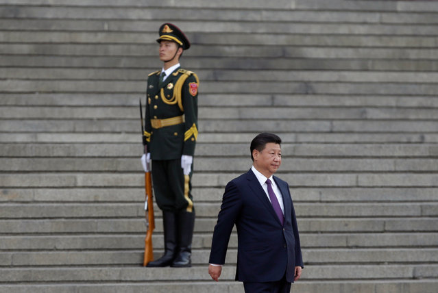 China's President Xi Jinping arrives for a welcoming ceremony for Togo's President Faure Gnassingbe (not in picture) outside the Great Hall of the People in Beijing, China, May 30, 2016. (Photo by Jason Lee/Reuters)