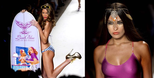Models wear Lisa Blue designs during Mercedes Benz Fashion Week Swim 2013 . (J Pat Carter/Associated Press)