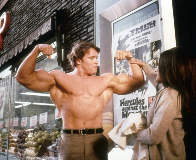 "Austrian Bodybuilder Arnold Schwarzenegger (billed as Arnold Strong ""Mr. Universe"") in a scene from the Trimark Pictures movie 'Hercules In New York' in 1969 in New York city, New York. (Photo by Michael Ochs Archives/Getty Images)"